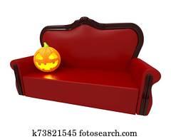 sofa with pumpkin halloween