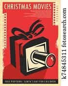 weihnachten, filme, fest, früher, plakat, design, mit, weihnachten, gift,, film, streifen, und, film, kamera.