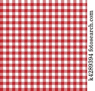 rot, vektor, checkered, picknick, tuch