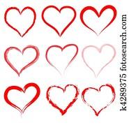 valentines tag, rot, herzen, vector,, herz, valentine