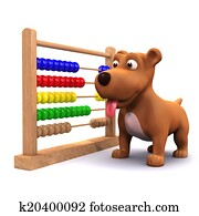 3d Puppy dog and abacus