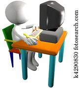 Computer user uses 3D cartoon PC side view