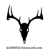 European Deer Silhouette Black on White