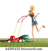 girl and lawn mower