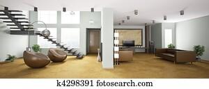 Interior of apartment panorama 3d