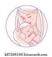 Logotype. Mother with newborn baby on hands.