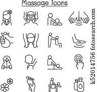 massage, &, heilbad, symbol, satz, in, dünne linie, stil