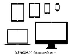 mobile, tablet, laptop, computer line icon set