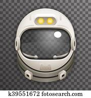 clipart of astronaut helmet with reflection glass vector k18856174