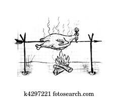 Roast chicken, illustration