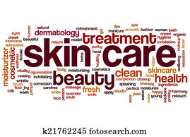 Skin care word cloud