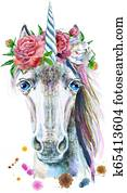 Watercolor portrait of a white unicorn with a flowers