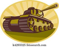 world war two battle tank aiming cannon to side with sunburst