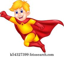 funny superman cartoon flying with smile and waving