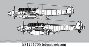 Messerschmitt Bf 110C-D. Outline vector drawing