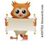 Owl with Open Scroll