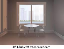 chambres avec fenêtres et paysage urbain