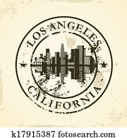 stamp with Los Angeles, California