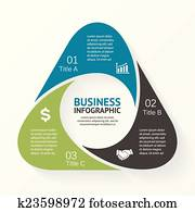 Triangle infographic, diagram, 3 options, parts.