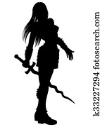 Woman warrior with flaming sword silhouette