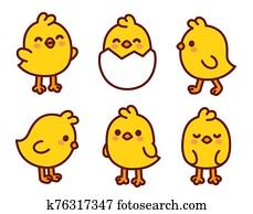 Cute cartoon baby chicken set
