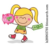 Girl saving money piggy bank