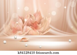 Peach flower gradient soft abstract background realistic vector illustration concept