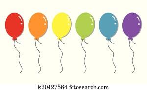 regenbogen, luftballone