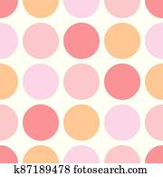 Seamless vector pastel pattern with dark pink polka dots on a sweet baby pink background