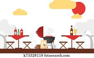 BBQ picnic vector illustration. Grilling outdoor, summer weekend, cooking on fire. Simple background in flat style. Setup for barbecue party, outdoor seating wooden tables. Cookout in courtyard