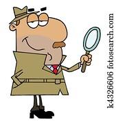 Hispanic Cartoon Detective Man