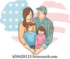 Military Family Kids Heart Flag Illustration
