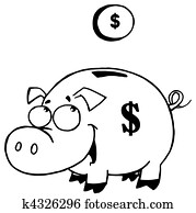Outlined Coin And Piggy Bank