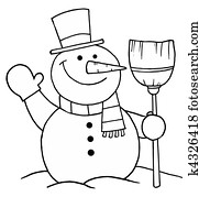 Snowman Holding A Broom And Waving