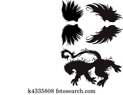 Clipart Of Tribal Cross With Wing K4661672 Search Clip Art