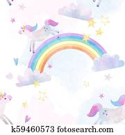 Watercolor unicorn rainbow pattern