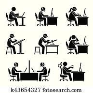 angestellter, arbeitende, mit, edv, und, laptop, an, büro.