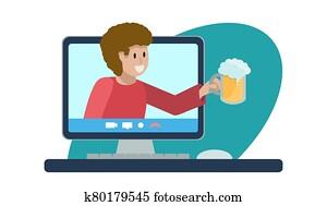 begriff, online, party, mit, beer., heiter, mann, mit, glas, von, schaum, wei?bier, klettert, heraus, von, edv, monitor,, laptop., oktomberfest, an, home., vektor, flache, illustration., soziales, vernetzung
