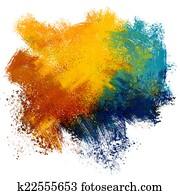 Colorful paint splash on watercolor