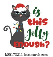 Is this jolly enough?- funny phrase for Christmas with cute cat in Santa's cap.
