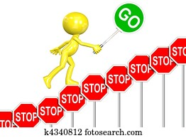STOP Signs GO Sign progress 3D man cartoon