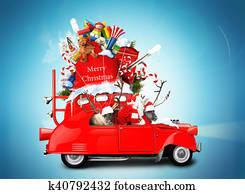 Weihnachtsmann Auto Stock Fotos Und Bilder 1 606 Weihnachtsmann Auto