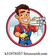 klempner, arbeiter, mit, schlüssel, dass, hand