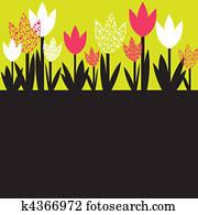 buntes, frühjahrsblumen, ., vektor