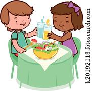 Children sitting o a table and eating healthy food. Vector Illustration