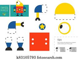 Cut and glue paper toy vector illustration. Cute robot character scissors cutting model for preschool kids.