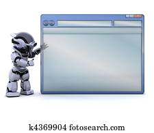 robot with empty computer window