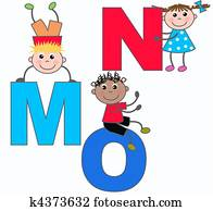 alphabet letters M N O