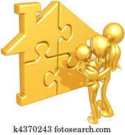 Family With Gold Home Puzzle