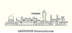 Hyderabad skyline Telangana India city line vector